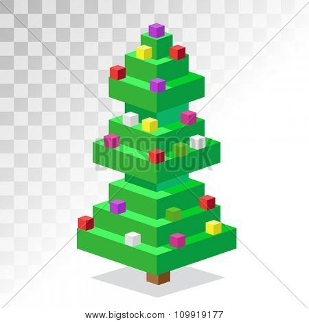 Christmas tree flat 3d isometric pixel art icon. Christmas tree vector. New Year tree isolated. Christmas tree vector illustration. New Year tree 3d silhouette. Christmas decoration, balls, tree