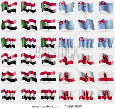 Sudan, Tuvalu, Egypt, Gibraltar. Set Of 36 Flags Of The Countries Of The World.
