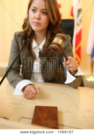 Judge Striking The Gavel (Focus On Gavel)