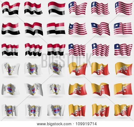 Yemen, Liberia, Saint Barthelemy, Bhutan. Set Of 36 Flags Of The Countries Of The World.