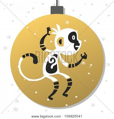 Chinese New Year monkey vector decoration ball icon. 2016 new year monkey chinese style. Happy monkey vector New Year China monkey ball. Chinese Monkey vector illustration. Monkey gold, white icon