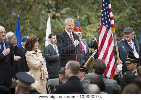 NEW YORK - NOVEMBER 11 2015: New York City Mayor Bill De Blasio at the opening ceremony in Madison Square Park before the annual Americas Parade up 5th Avenue on Veterans Day in Manhattan.