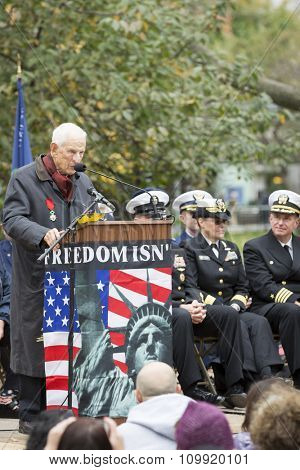 NEW YORK - NOVEMBER 11 2015: Former Manhattan District Attorney Robert Morgenthau, vet and Grand Marshal speaks tot he audience in Madison Square Park before the parade up 5th Ave on Veterans Day.