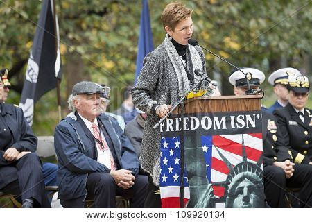 NEW YORK - NOVEMBER 11 2015: Loree Sutton, Commissioner of NYC Mayors Office of Veteran Affairs and Brig. General, US Army, Ret. speaks in Madison Square Park before the Americas Parade, Veterans Day.