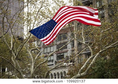 NEW YORK - NOVEMBER 11 2015: American Flag fastened between trees waves in the wind at the opening ceremony in Madison Square Park for the Americas Parade up 5th Avenue on Veterans Day in Manhattan.