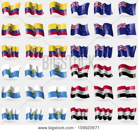 Ecuador, New Zeland, San Marino, Syria. Set Of 36 Flags Of The Countries Of The World.