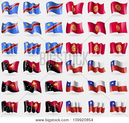 Congo Democratic Republic, Kyrgyzstan, Papua New Guinea, Chile. Set Of 36 Flags Of The Countries