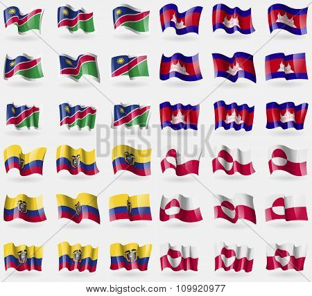 Namibia, Cambodia, Ecuador, Greenland. Set Of 36 Flags Of The Countries Of The World.