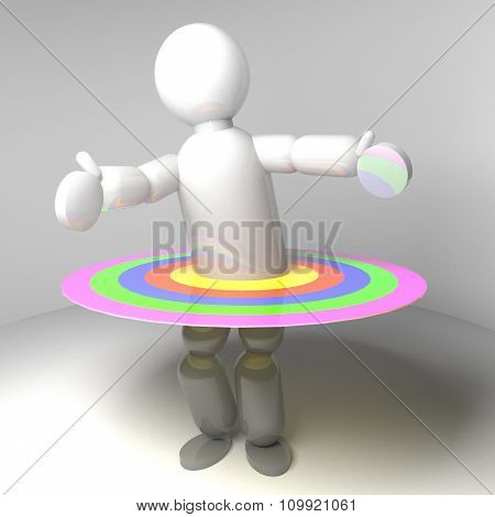 3D Puppet With Circles In Colors