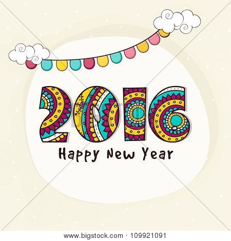 Elegant greeting card with floral decorated text 2016 for Happy New Year celebration.