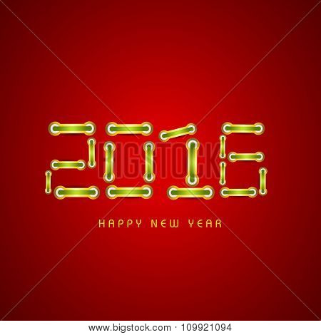 Creative glossy stylish text 2016 on shiny red background for Happy New Year celebration.