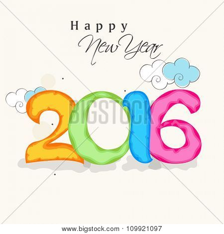 Elegant greeting card design with colorful text 2016 for Happy New Year celebration.