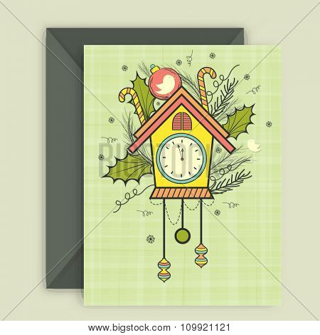 Creative clock and Xmas ornaments decorated greeting card design with envelope for Happy New Year celebration.