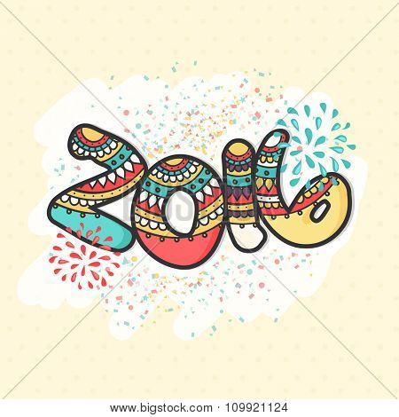 Elegant greeting card with floral design decorated colorful text 2016 for Happy New Year celebration.
