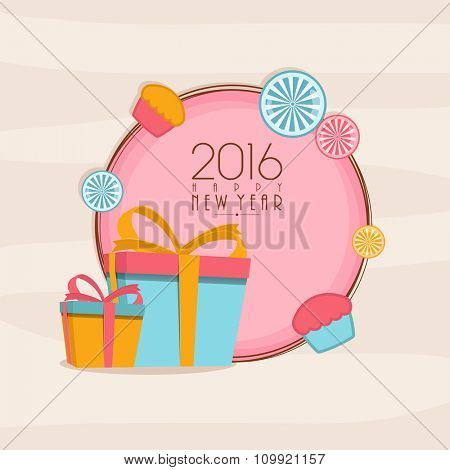 Elegant greeting card design with wrapped gifts for Happy New Year celebration.