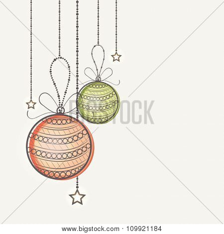 Elegant greeting card design with hanging Xmas Balls and stars for Happy New Year celebration.