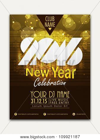 Creative shiny Flyer, Banner or Pamphlet design for Happy New Year 2016 celebration.