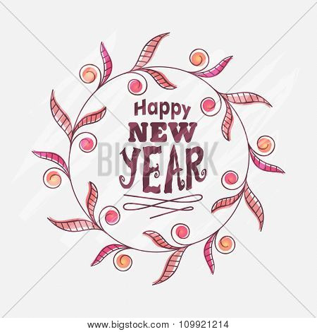 Beautiful floral design decorated greeting card for Happy New Year celebration.