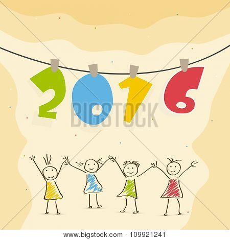 Stylish hanging colorful text 2016 with cute girls holding hands together for Happy New Year celebration.