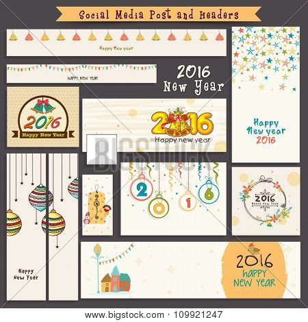 Social Media post and header set with creative ornaments for Happy New Year 2016 celebration.