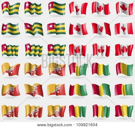 Togo, Canada, Bhutan, Guinea. Set Of 36 Flags Of The Countries Of The World.