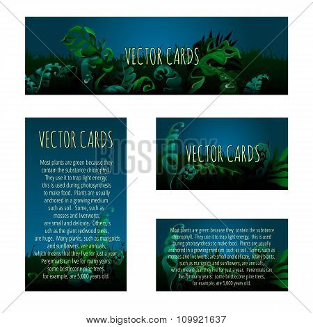 Set of cards with the original background of the unusual vegetation