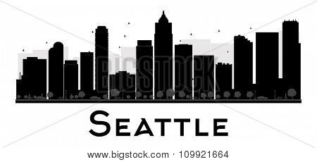 Seattle City skyline black and white silhouette. Vector illustration. Simple flat concept for tourism presentation, banner, placard or web site. Business travel concept. Cityscape with landmarks