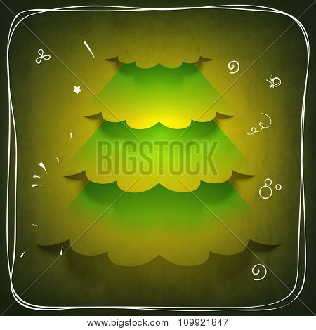 Creative glossy Xmas Tree on green background for Merry Christmas celebration.
