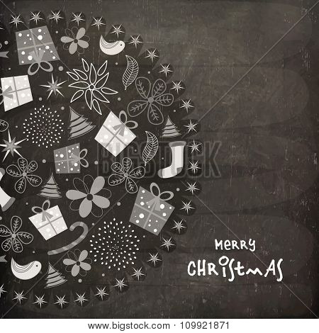 Merry Christmas celebration greeting card design with creative ornaments on chalkboard background.