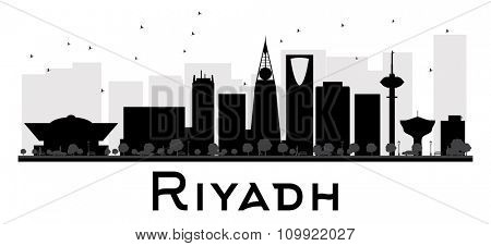 Riyadh City skyline black and white silhouette. Vector illustration. Simple flat concept for tourism presentation, banner, placard or web site. Business travel concept. Cityscape with landmarks