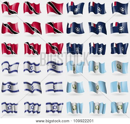 Trinidad And Tobago, French And Antarctic, Israel, Guatemala. Set Of 36 Flags Of The Countries Of