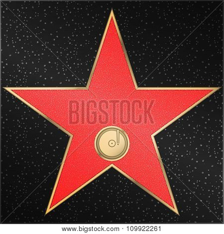 Star, phonograph, record, vector