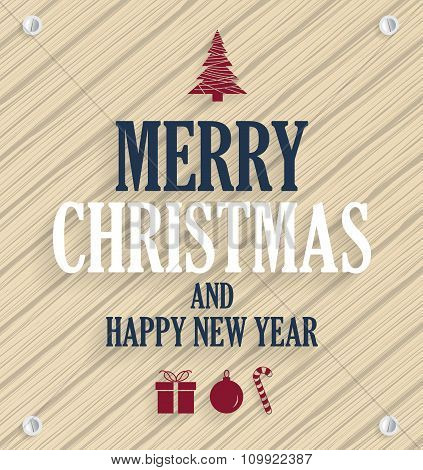 Christmas poster. Wooden background