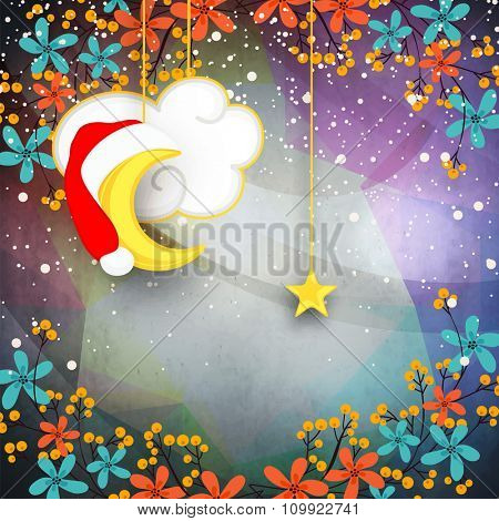 Elegant greeting card design decorated with beautiful flowers, hanging moon and star for Merry Christmas celebration.