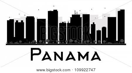Panama City skyline black and white silhouette. Vector illustration. Simple flat concept for tourism presentation, banner, placard or web site. Business travel concept. Cityscape with landmarks