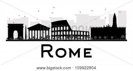 Rome City skyline black and white silhouette. Vector illustration. Simple flat concept for tourism presentation, banner, placard or web site. Business travel concept. Cityscape with landmarks