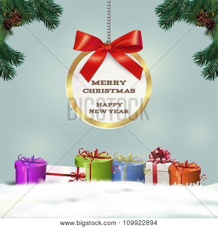 Congratulatory Christmas Background With Gifts. Vector Illustration