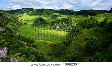 mountain landscape in summer morning - Fundatura Ponorului, Romania