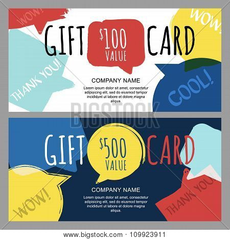 Vector Gift Voucher With Hand Drawn Watercolor Speech Bubbles.