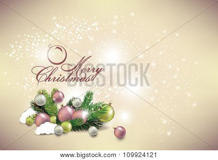 Elegant Classic Christmas flyer with tree leaves