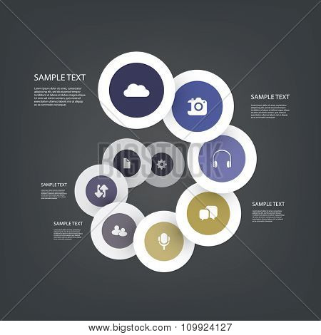 Colorful Paper Cut Infographics Design - Circles With Icons
