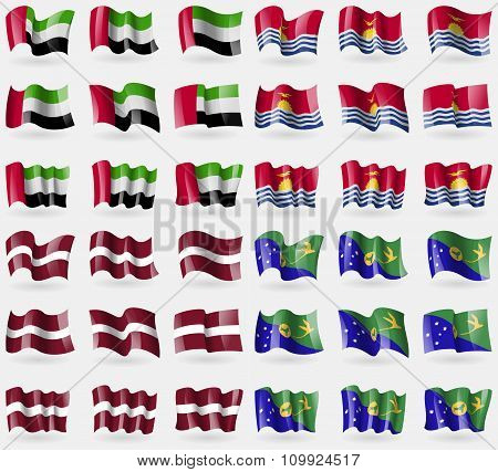 United Arab Emirates, Kiribati, Latvia, Christmas Island. Set Of 36 Flags Of The Countries Of The
