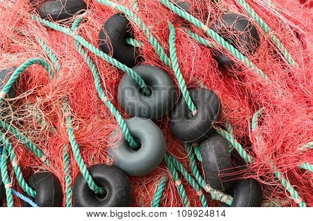 Red fishing net.