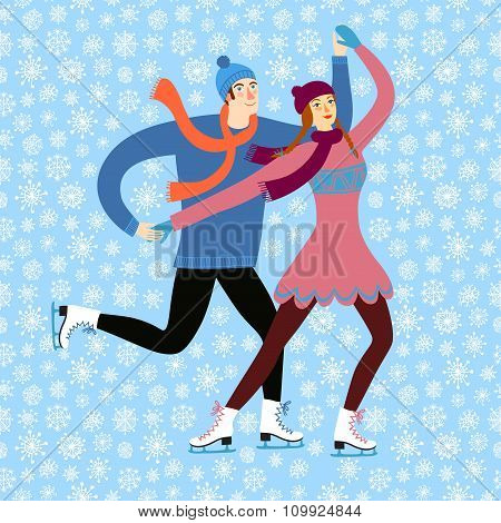 Cartoon Ice Skaters Boy And Girl