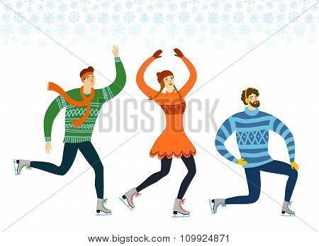 Cartoon Ice Skaters  Illustration