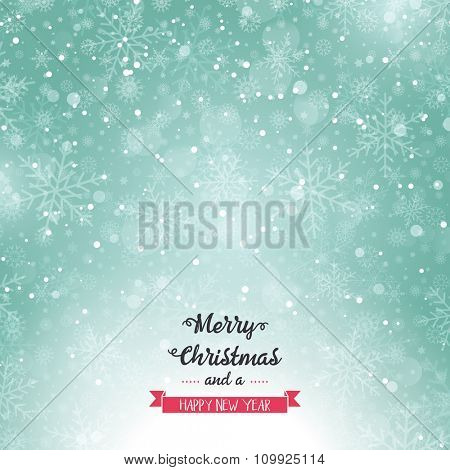 Merry Christmas background with snowflake design