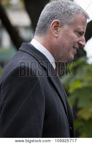 NEW YORK - NOVEMBER 11 2015: New York City Mayor Bill De Blasio at the Eternal Light Monument for the wreath laying ceremony in Madison Square Park before the Americas Parade on Veterans Day.