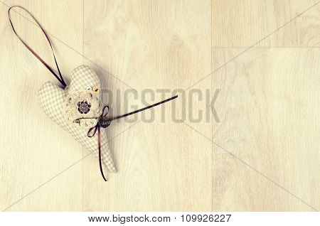 Beige Plaid Cotton Heart With Knitted  Flower