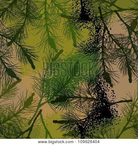 Pine Branch Seamless Pattern Camouflage Summer