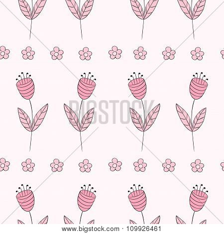 Cute Bellflowers Seamless Pattern. Vintage Background. Pink Flowers. Floral Texture. Light Backdrop.